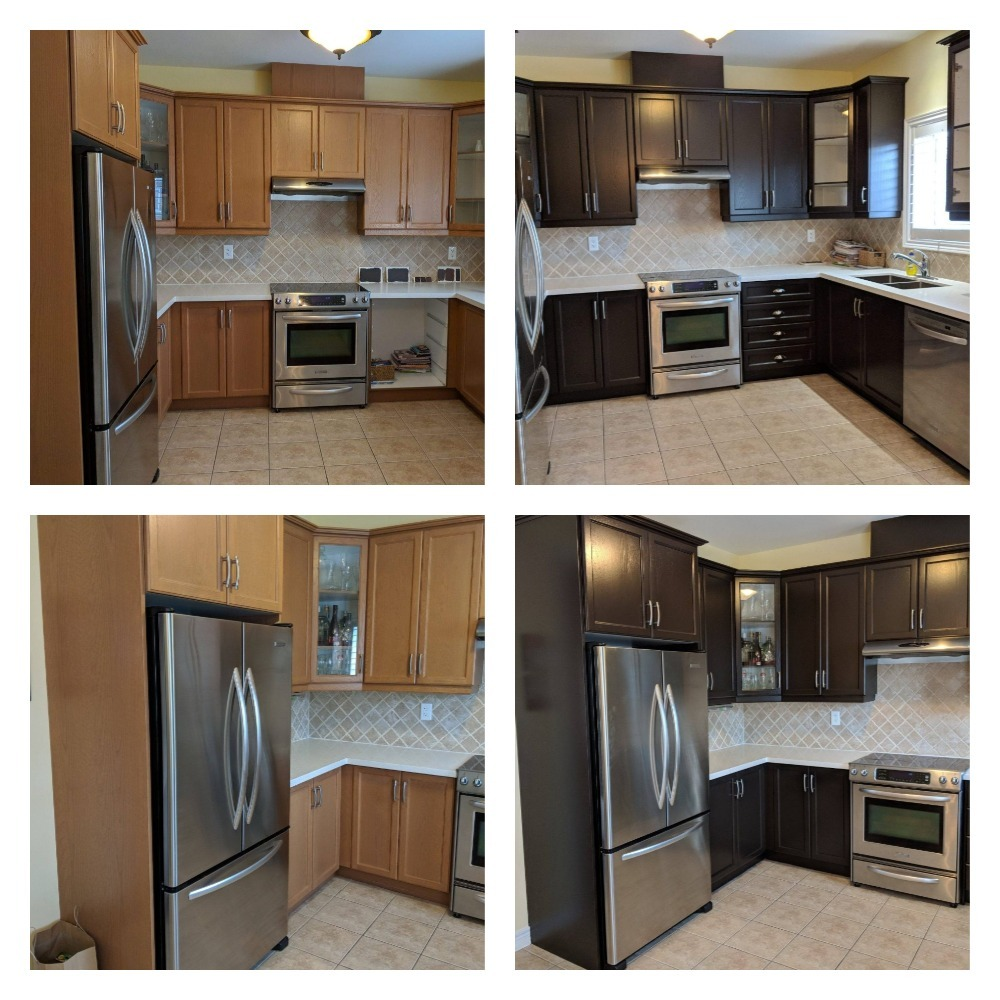 Refinishing And Painting Kitchen Cabinets Before And After ...
