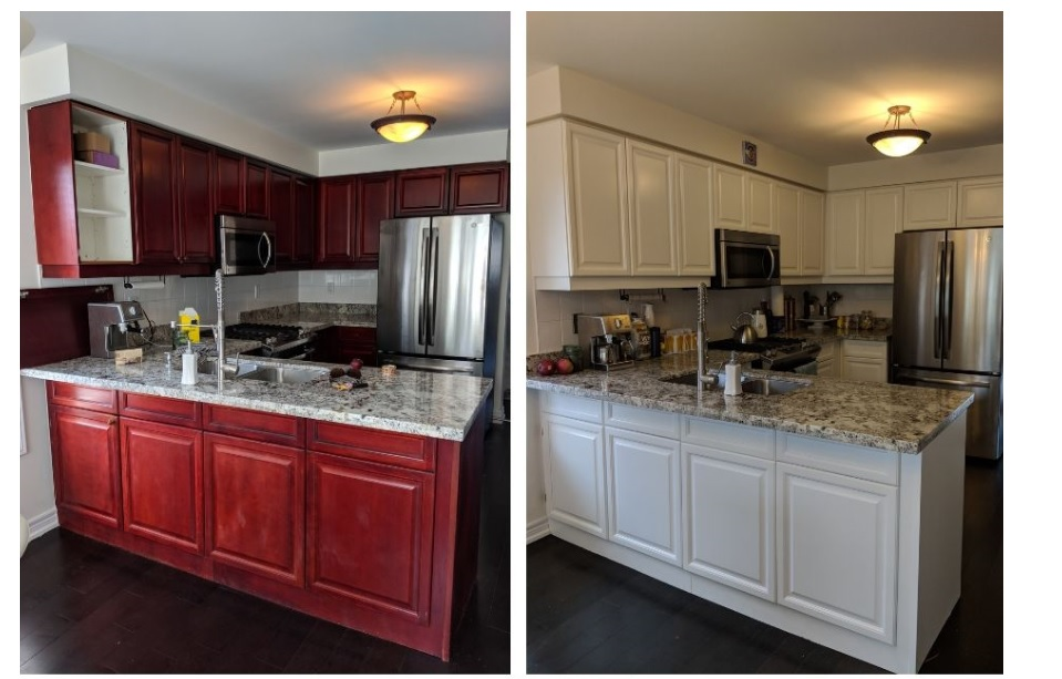 refinishing and painting kitchen cabinets before and after